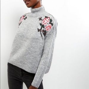 Cloud Chaser Floral Patch Grey Sweater